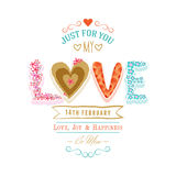 Greeting card design for Happy Valentines Day celebration. Beautiful greeting card design with decorated text Love for 14 February, Happy Valentines Day Vector Illustration