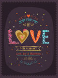 Greeting card design for Happy Valentines Day celebration.. Beautiful greeting card design with decorated text Love for 14 February, Happy Valentines Day Royalty Free Illustration