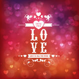 Greeting card design for Happy Valentines Day celebration. Beautiful greeting card design for 14th Feb with stylish text Love on hearts decorated colorful Royalty Free Stock Images