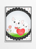 Greeting card design for Happy Valentines Day celebration. Greeting card design with cute cat couple and pink heart for Happy Valentines Day celebration Stock Image