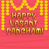 Greeting card design for Happy Vasant Panchami. Beautiful greeting card design for Happy Vasant Panchami with flowers decoration on pink background Stock Image