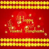 Greeting card design for Happy Vasant Panchami. Elegant greeting card design with shiny text Happy Vasant Panchami and flowers decoration on red background Stock Photography