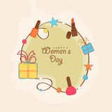 Greeting card design for Happy Womens Day celebration. Stock Images
