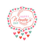 Greeting card design for Happy Womens Day celebration. Royalty Free Stock Image