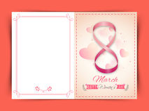 Greeting card design for Happy Women's Day. Elegant greeting card design with stylish text 8 March, made by glossy pink ribbon on hearts decorated background Stock Photos