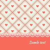 Greeting card design with hearts and rhombs. Vector background Royalty Free Stock Images