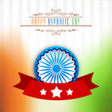 Greeting card design for Indian Republic Day celebration. Elegant greeting card design with 3D Ashoka Wheel and national flag colors for Happy Indian Republic Royalty Free Stock Photos