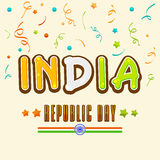 Greeting card design for Indian Republic Day celebration. Stock Image