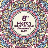 Greeting card design for International Women's Day. Stock Photos