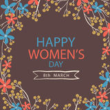 Greeting card design for International Womens Day celebration. Beautiful flowers decorated greeting card design for International Womens Day celebration Royalty Free Stock Image