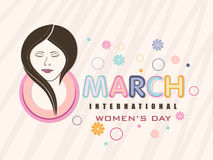 Greeting card design for International Womens Day celebration. Stock Image