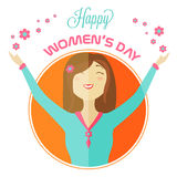 Greeting card design for International Womens Day celebration. Royalty Free Stock Photo