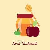 Greeting card design for Jewish New Year, Rosh Hashanah. Stock Photos