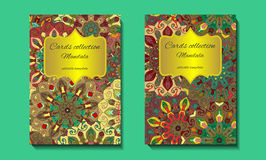 Greeting card design with mandala pattern. Abstract  template. Indian, arabic, orient motifs in green, yellow and brown colors. Easy edit Stock Images