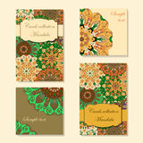 Greeting card design with mandala pattern. Abstract vector template. Indian, arabic, orient motifs in green, yellow, orange and brown colors. Easy edit and use Stock Images