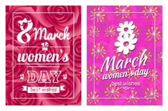 Greeting Card Design 8 March Womens Day Postcards. Greeting card design 8 March template day postcards with flourish elements, calligraphic inscription on ribbon stock illustration