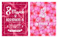 Greeting Card Design 8 March Womens Day Postcards. Greeting card design 8 March template day postcards with flourish elements, calligraphic inscription on ribbon vector illustration