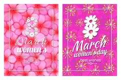Greeting Card Design 8 March Womens Day Postcards. Greeting card design 8 March template day postcards with flourish elements, calligraphic inscription on ribbon royalty free illustration