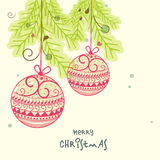 Greeting card design for Merry Christmas celebrations. Stock Photo