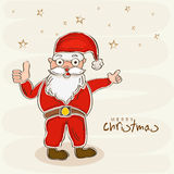 Greeting card design for Merry Christmas celebrations. Happy Santa Claus in red clothes showing thumbs up for Merry Christmas celebrations on stars decorated Royalty Free Stock Photo