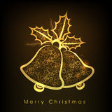 Greeting card design for Merry Christmas celebrations. Merry Christmas celebrations greeting card design with stars decorated golden jingle bells on shiny brown Royalty Free Stock Photography