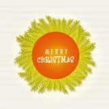 Greeting card design for Merry Christmas. Elegant greeting card design decorated with fir tree branches for Merry Christmas celebration Vector Illustration