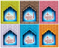 Greeting Card design of mosque and stylish text Ramadan Kareem in 3d. Royalty Free Stock Image