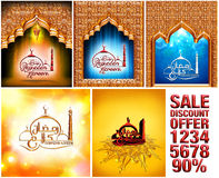 Greeting Card design of mosque and stylish text Ramadan Kareem in 3d. Royalty Free Stock Images