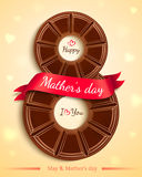 Greeting card design for Mothers Day. Happy mothers day greeting card design with chocolate and pink ribbon. Vector Royalty Free Stock Photo