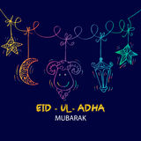Greeting card design for Muslim community festival Eid-Ul-Adha. Hand drawing illustration Stock Photography