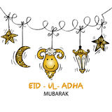 Greeting card design for Muslim community festival Eid-Ul-Adha. Hand drawing illustration Royalty Free Stock Photo