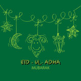 Greeting card design for Muslim community festival Eid-Ul-Adha. Hand drawing illustration Stock Image