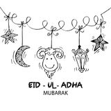 Greeting card design for Muslim community festival Eid-Ul-Adha. Hand drawing illustration Royalty Free Stock Images