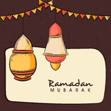 Greeting card design for Muslims festival Ramadan celebration. Stock Photo