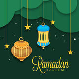 Greeting card design for Muslims holy month Ramadan Kareem. Royalty Free Stock Photos