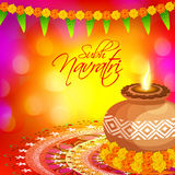 Greeting card design for Navratri celebration. Royalty Free Stock Photography