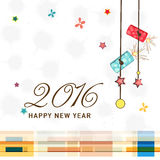 Greeting card design for New Year 2016 celebration. Royalty Free Stock Photography
