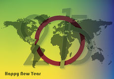 Greeting card design new year 2015 with world map. Creative greeting card design new year 2015 with world map stock illustration