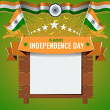 Greeting card design relating Festive illustration of independence day in India celebration on August 15. Empty board or. Place for your text. Vector royalty free illustration