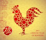 Greeting card design for 2017 with Rooster shape. Greeting card for Chinese New year 2017. Hieroglyph translation Rooster Stock Image