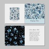 Greeting card design, russian gzhel ornament Stock Image
