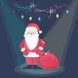 Greeting card design - Santa Claus on a New Year Stock Photo