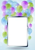 Greeting card design with silver blank frame  Stock Images