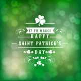 Greeting card design for St. Patricks Day celebration. Beautiful greeting card design for Happy St. Patricks Day celebration on shiny green background Stock Photography