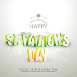 Greeting card design for St. Patricks Day celebration. 3D text St. Patricks Day on grey background, can be used as greeting or invitation card design Royalty Free Stock Photos