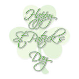 Greeting card design for St. Patricks Day celebration. Elegant greeting card design for Happy St. Patricks Day celebration on shamrock leaf decorated background Stock Photography