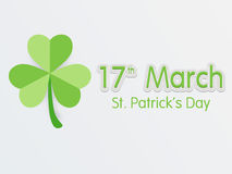 Greeting card design for St. Patricks Day celebration. 17 March, Happy St. Patricks Day celebration with Irish lucky shamrock leaf, can be used as greeting or Royalty Free Stock Photo
