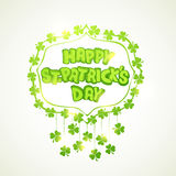 Greeting card design for St. Patricks Day celebration. Stylish text Happy St. Patricks Day surrounded by shiny clover leaves, can be used as greeting or Stock Photography