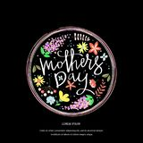 Greeting card design with stylish text Mothers Day. stock illustration
