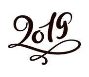 Greeting card design template with chinese calligraphy 2019 New Year grunge number 2019 hand drawn lettering. Vector. Illustration Stock Photos